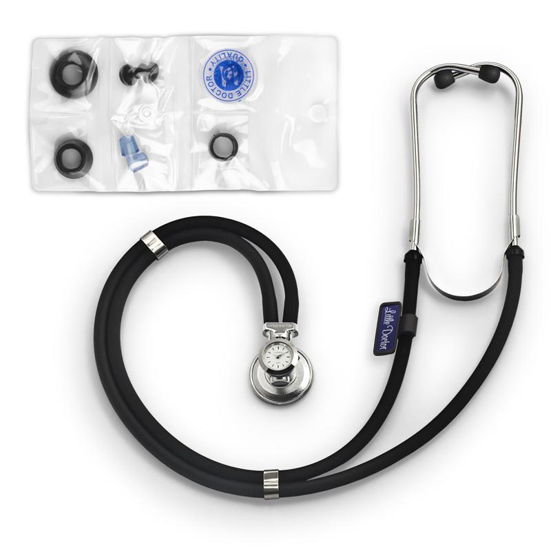 Stetoscop cu ceas Little Doctor LD SteTime, 2 tuburi, tub 56 cm, Negru/Argintiu 2021 shopu.ro
