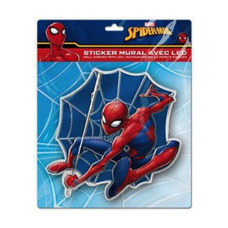 Sticker de perete cu led Spiderman SunCity, 20 x 20 cm 2021 shopu.ro