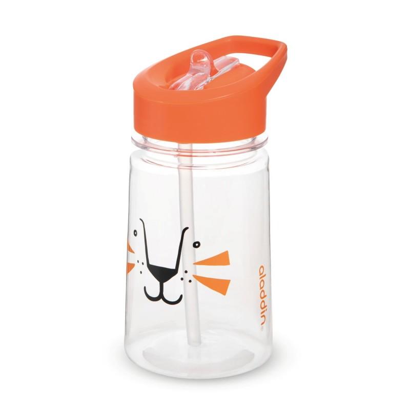 Sticla apa Zoo Flip & Sip Aladdin, 430 ml, capac cu pai, plastic, model tigru 2021 shopu.ro
