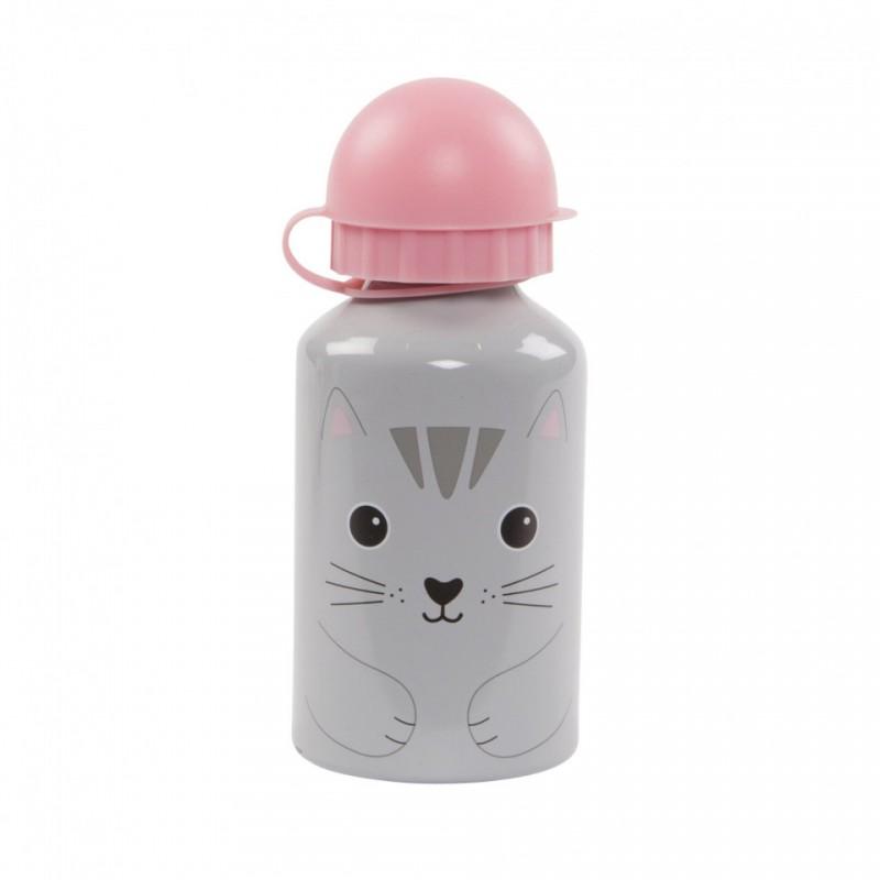 Sticla cu capac Sass & Belle, aluminiu, 300 ml, 15.5 x 6.5 cm, 3 ani+, model pisica si nori