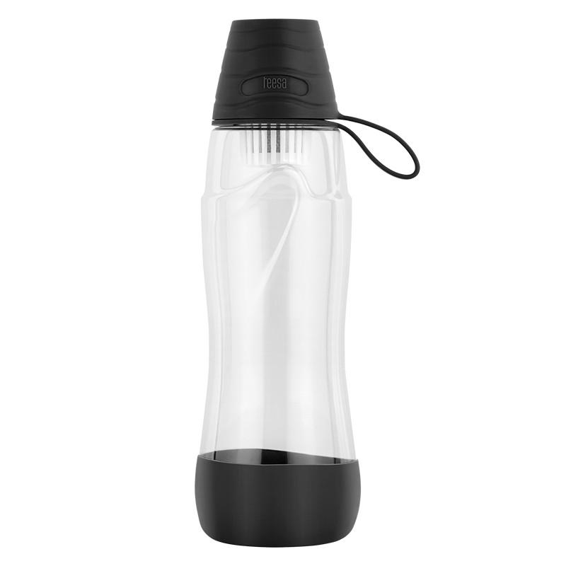 Sticla pentru filtrare apa Teesa, 550 ml, tritan/polipropilena, filtru carbon activ, Negru 2021 shopu.ro