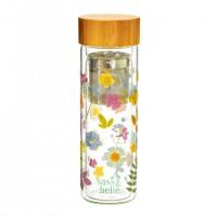 Sticla cu infuzor si capac Sass & Belle, bambus, plastic, 300 ml, 22 x 7, model flori presate