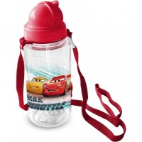 Sticla pentru copii cu pai Cars Star,  450 ml, 3 ani+, Rosu