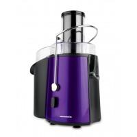 Storcator de fructe Heinner, 1000 W, 1 l, tub 75 mm, inox, recipient pulpa 2 l, 2 viteze, Negru/Mov