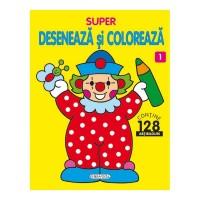 Carte de colorat Super deseneaza si coloreaza 1 Girasol, 64 pagini, 128 abtibilduri, 3 ani+