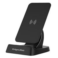 Suport Kruger Matz pentru telefon, functie de incarcare prin inductie, 10 W, Negru