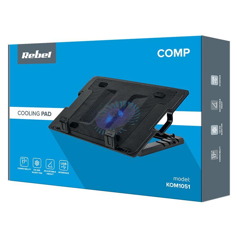 Cooler tip suport laptop Rebel, 14-17 inch, 1000 rpm, 2 x USB, ventilator luminat, Negru