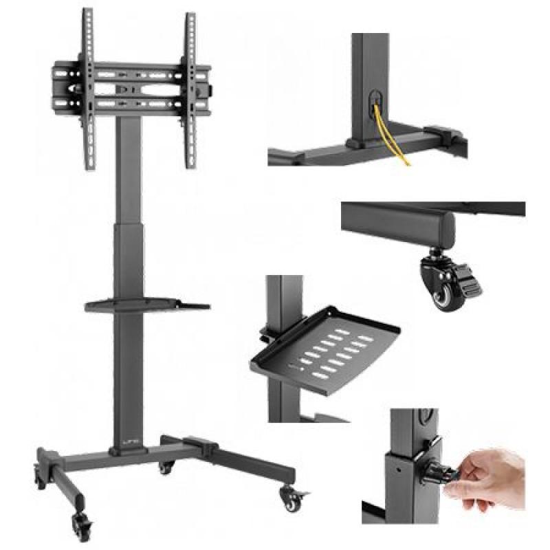 Suport mobil TV LED, 81-140 cm, maxim 35 kg, suport playstation, inaltime reglabila