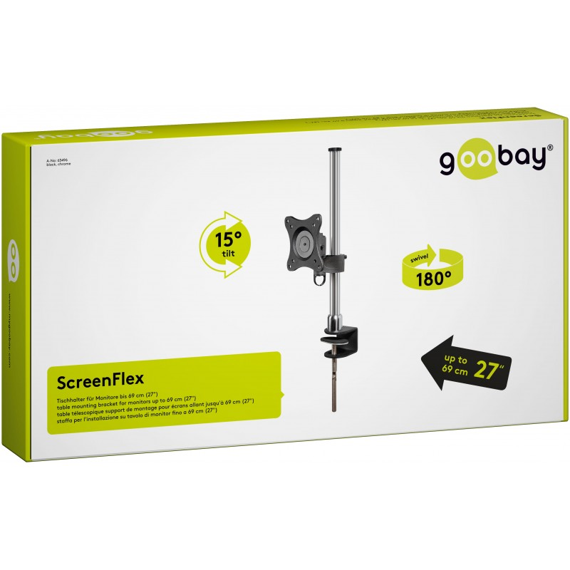 Suport monitor Goobay, 33-81 cm/3-32 inch, inaltime reglabila 100-400 mm, maxim 15 kg, Negru