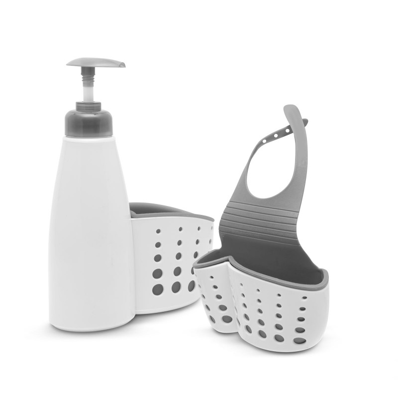 Suport obiecte pentru baie/bucatarie Family Pound, 9 x 15 x 5 cm, plastic, Gri/Alb 2021 shopu.ro