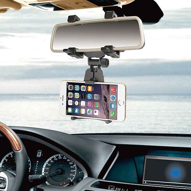 Suport telefon auto oglinda retrovizoare RoGroup, plastic, negru