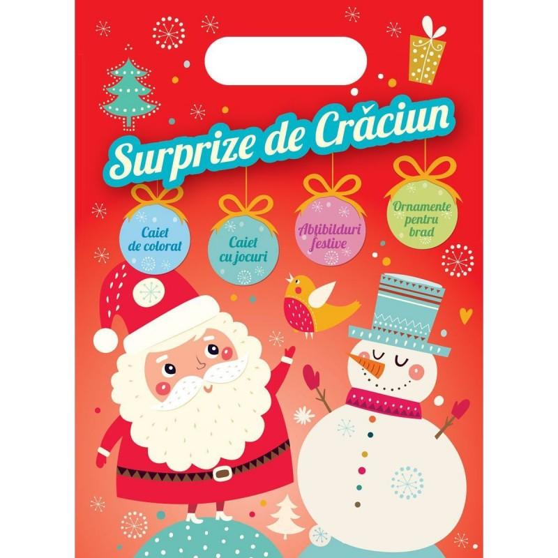 Carte de activitati Surprize de Craciun Editura Kreativ, 28 pagini, abtibilduri incluse, 3-10 ani 2021 shopu.ro