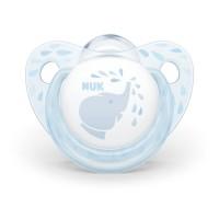 Suzeta Baby Blue Nuk, silicon, varf plat, 0-6 luni, model elefant, Albastru