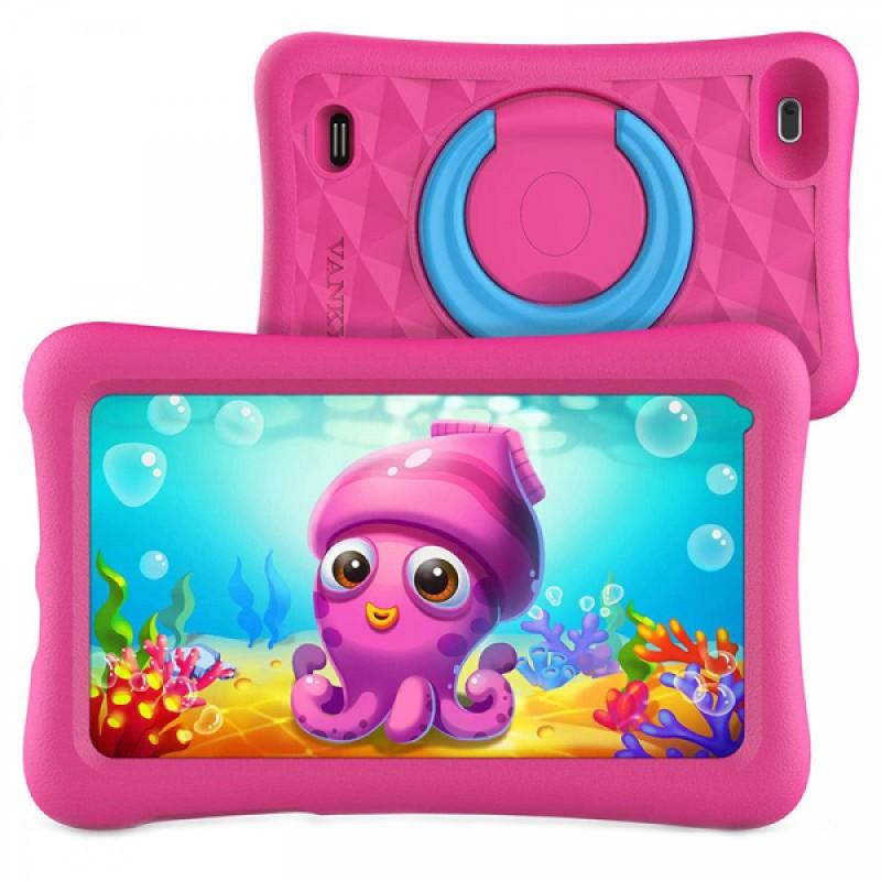 Tableta copii HD Vankyo Z1, 2 Mp, 7 inch, Quad-Core, Android 8.1 Oreo, 1 GB RAM, 32 GB, port microUSB, Roz