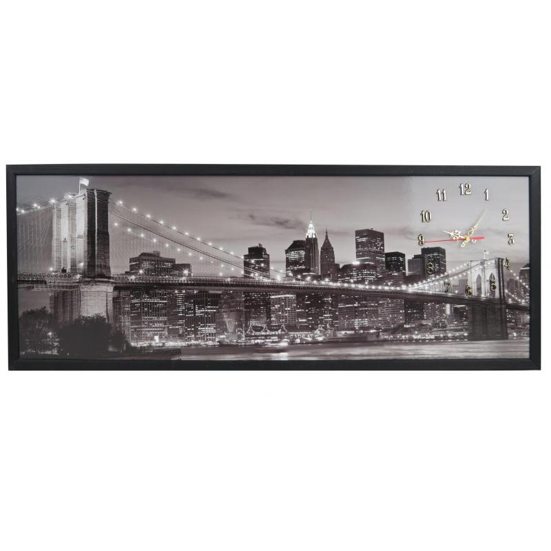 Tablou cu ceas inramat Heinner, 39 x 104 cm, lemn masiv, City shopu.ro