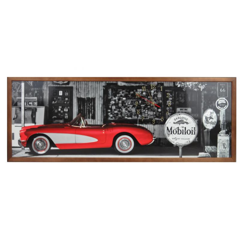 Tablou cu ceas inramat Heinner, 54 x 104 cm, lemn masiv, Car R66 shopu.ro