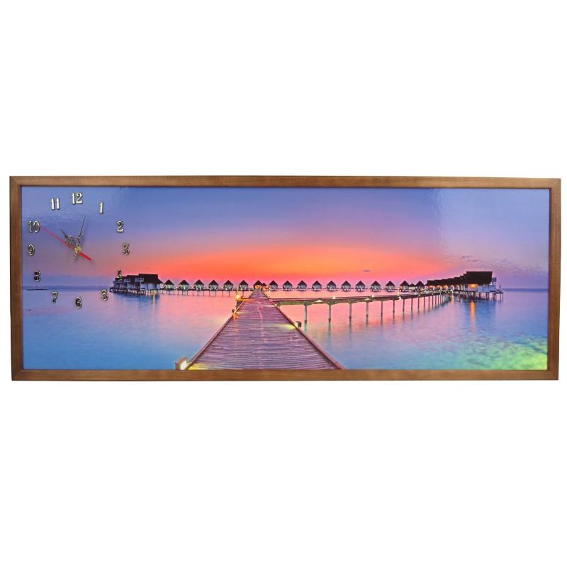 Tablou cu ceas inramat Heinner, 39 x 104 cm, lemn masiv, Sunset shopu.ro