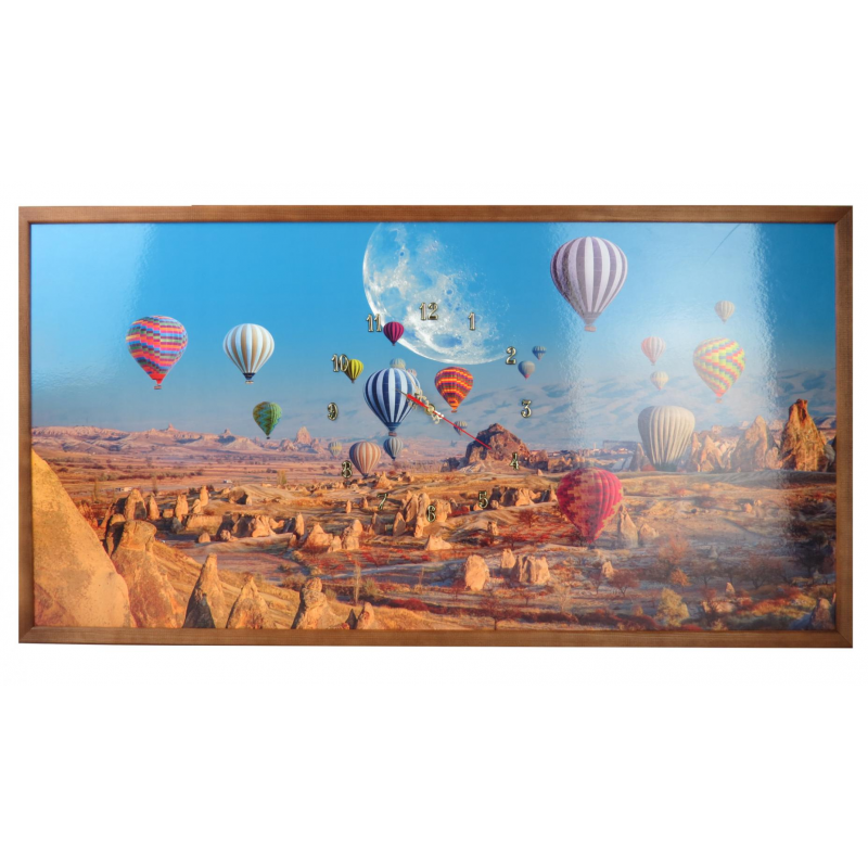 Tablou cu ceas inramat Heinner, 54 x 104 cm, lemn masiv, Baloons shopu.ro