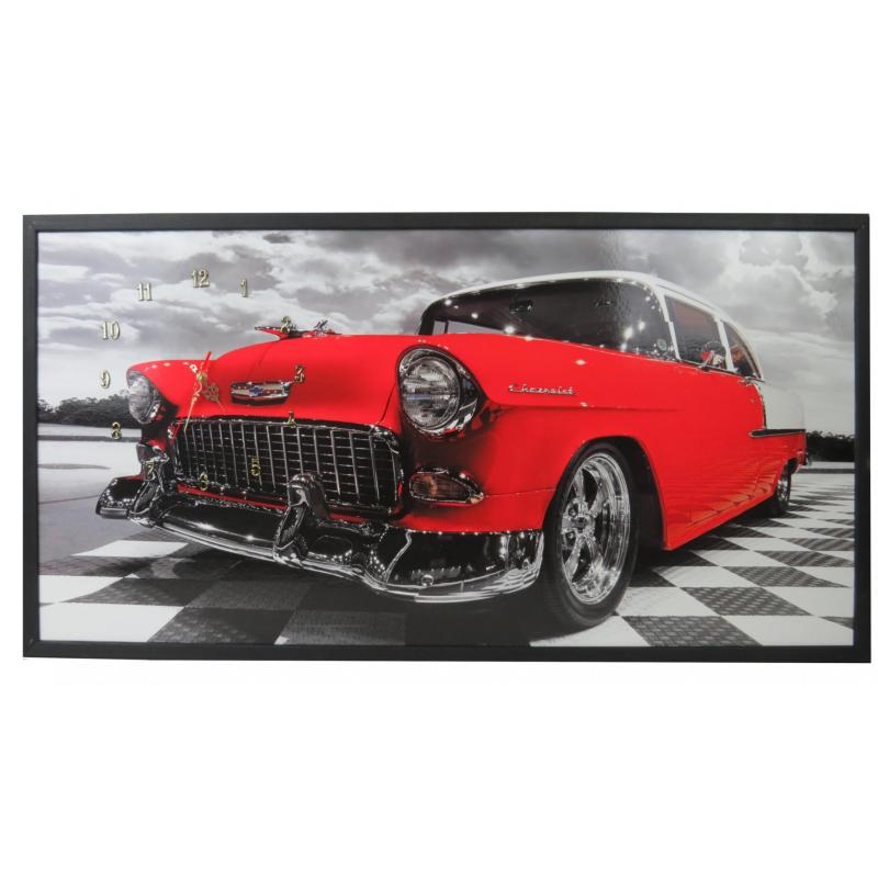 Tablou cu ceas inramat Heinner, 54 x 104 cm, lemn masiv, Red Chevy shopu.ro