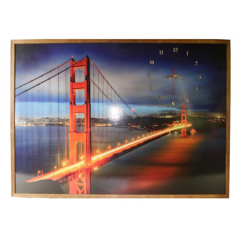 Tablou cu ceas inramat Heinner, 74 x 104 cm, lemn masiv, Bridge shopu.ro