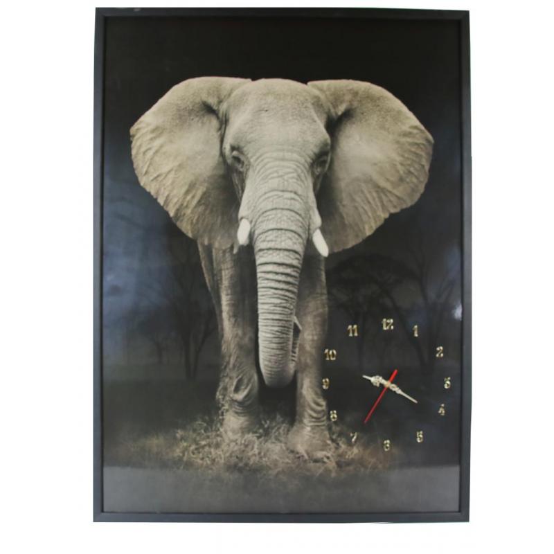 Tablou cu ceas inramat Heinner, 74 x 104 cm, lemn masiv, Elefant shopu.ro