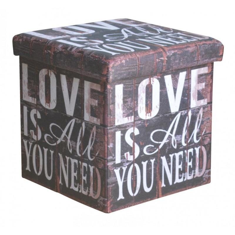 Taburet pliabil Heinner, 38 x 38 x 37.5 cm, sezut 20 mm, spatiu depozitare, pvc printat, model Mesaj Mix shopu.ro