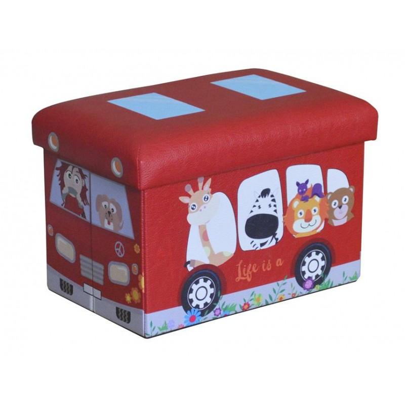 Taburet pliabil pentru copii Heinner, 38 x 25 x 24.5 cm, sezut 20 mm, spatiu depozitare, pvc printat, Rosu shopu.ro