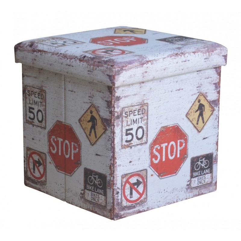 Taburet pliabil Heinner, 38 x 38 x 37.5 cm, sezut 20 mm, spatiu depozitare, pvc printat, model Stop shopu.ro