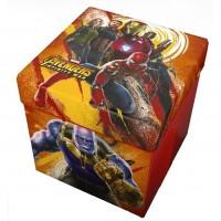Taburet pliabil cu spatiu de depozitare Avengers Star, 32 x 32 x 32 cm, maxim 80 kg, Multicolor