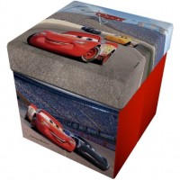 Taburet pliabil cu spatiu de depozitare Cars 3 Star, 32 x 32 x 32 cm, rosu
