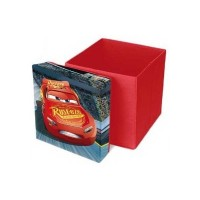 Taburet pliabil cu spatiu de depozitare Cars SunCity, 31 x 31 x 33 cm, suporta maxim 50 kg