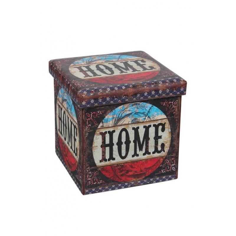 Taburet pliabil Heinner Home, 38 x 38 x 37.5 cm, sezut 20 mm, spatiu depozitare, pvc printat, Multicolor shopu.ro