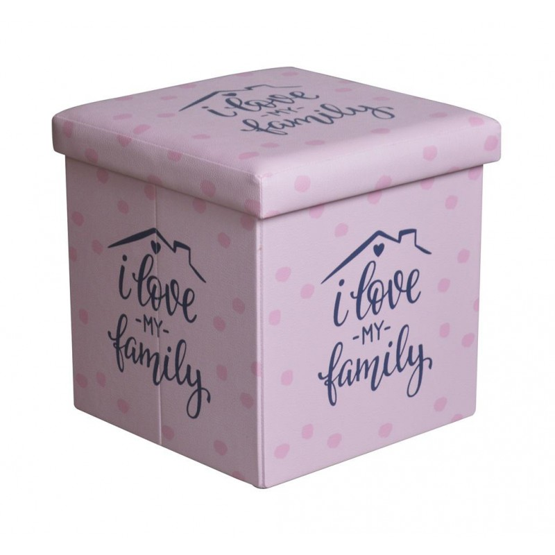 Taburet pliabil Heinner Home 4, 38 x 38 x 37.5 cm, sezut 20 mm, spatiu depozitare, pvc printat, Pink shopu.ro