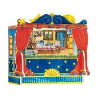 Jucarie teatru de papusi Goki, 28 x 20 x 25 cm, lemn, papusi de mana incluse, 3 ani+