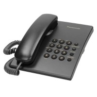 Telefon fix cu fir Panasonic, functie redial, Negru