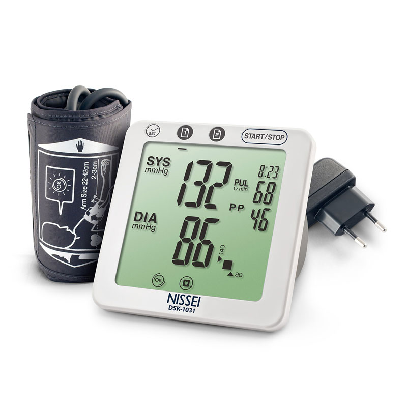 Tensiometru electronic de brat Nissei, memorare 60 seturi, afisaj LCD, manseta 22-42 cm, Alb 2021 shopu.ro