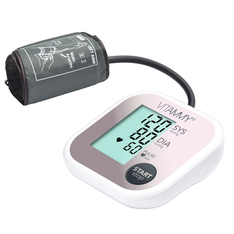 Tensiometru electronic de brat Vitammy Super Beat, ecran 60 x 45 cm, manseta 22-42 cm, 4 x AAA, Alb/Roz 2021 shopu.ro