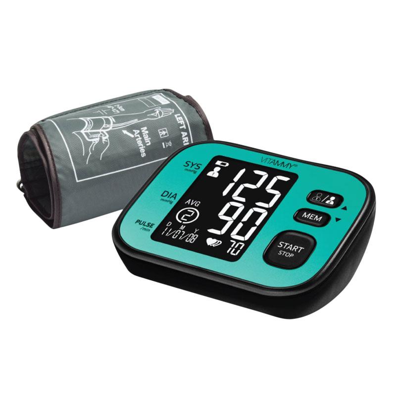 Tensiometru electronic de brat Vitammy Super Cosmo, ecran 80 x 58.5 mm, manseta 22-42 cm, memorie 2 x 60 seturi, 4 x AA, Negru/Turcoaz 2021 shopu.ro