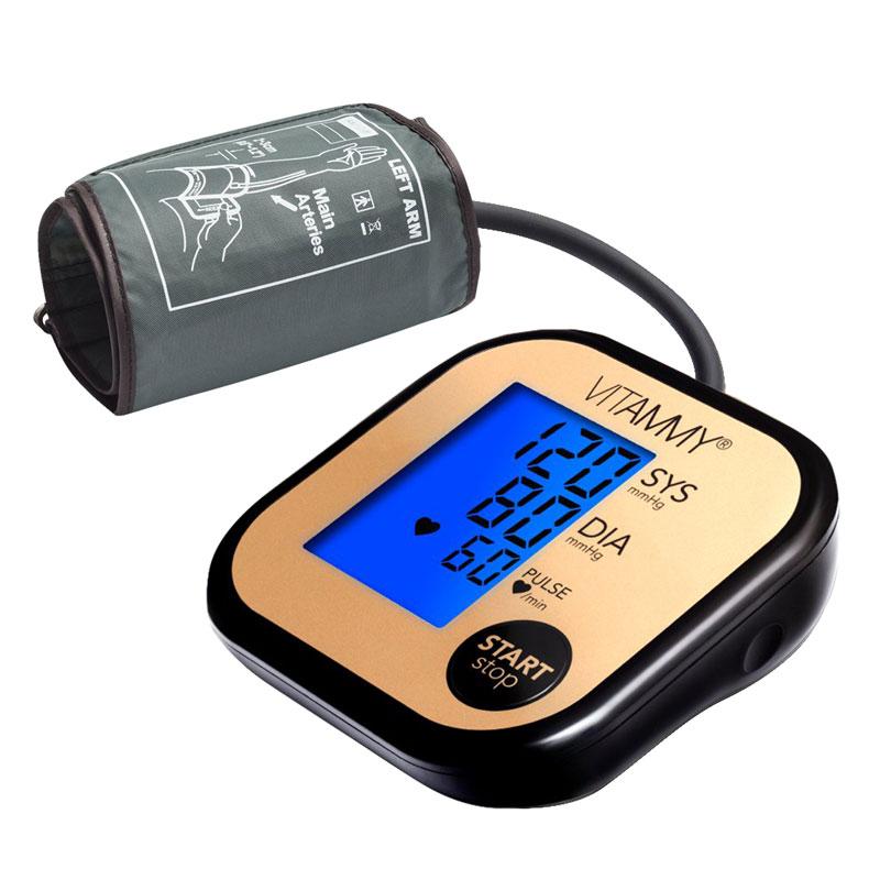 Tensiometru electronic de brat Vitammy Ultra Beat, ecran 60 x 45 mm, manseta 22-42 cm, 4 x AAA, Negru/Auriu 2021 shopu.ro