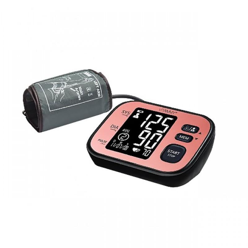 Tensiometru electronic de brat Vitammy Ultra Cosmo, ecran LCD, 80 x 58.5 mm, manseta 22-42 cm, 4 x AA, gentuta inclusa, Negru/Roz 2021 shopu.ro