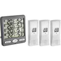 Termo-higrometru cu 3 senzori wireless TFA, ecran LCD