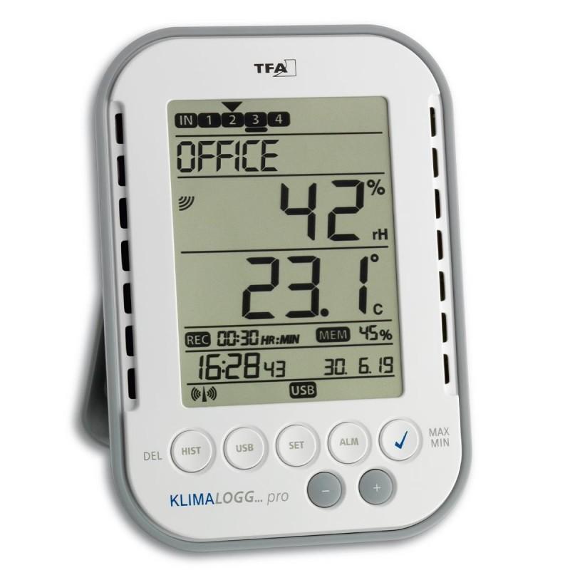 Termo-higrometru profesional Klimalogg Pro TFA, 868 MHz, 100 m, ceas radio controlat, 50000 de inregistrari