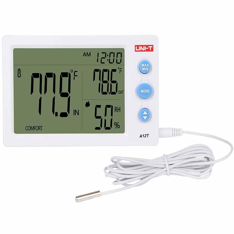 Termohigrometru digital A12T Uni-T, LCD, alarma, prelevare date 10 s