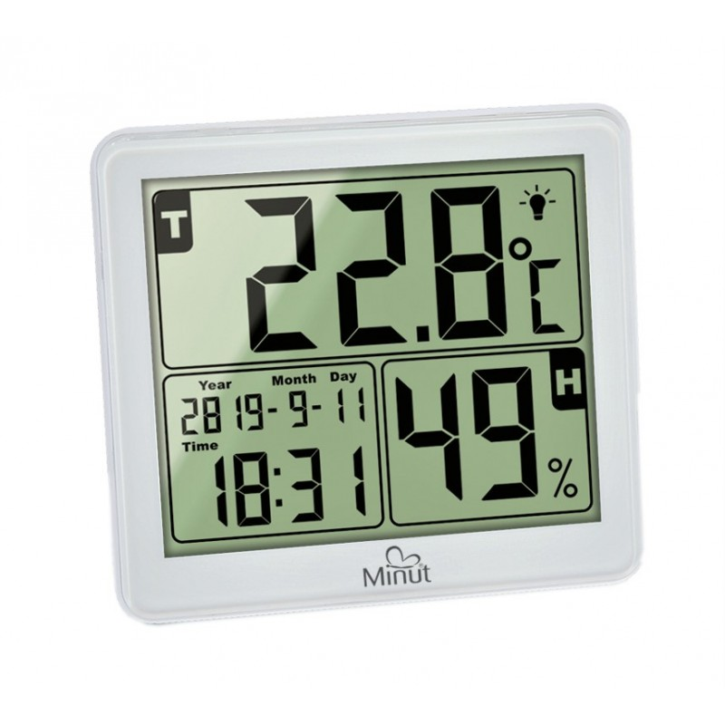 Termohigrometru digital Minut, 5 functii, 1 x AAA, Alb 2021 shopu.ro