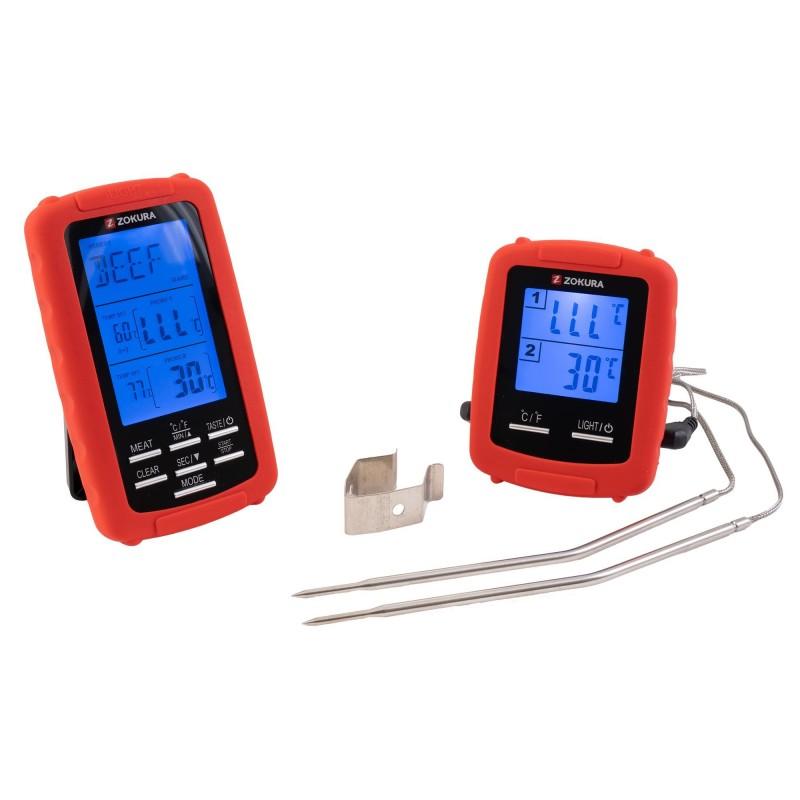 Termometru carne fara fir Zokura, 2 sonde, timer, avertizare sonora, Rosu - Zokura 2021 shopu.ro