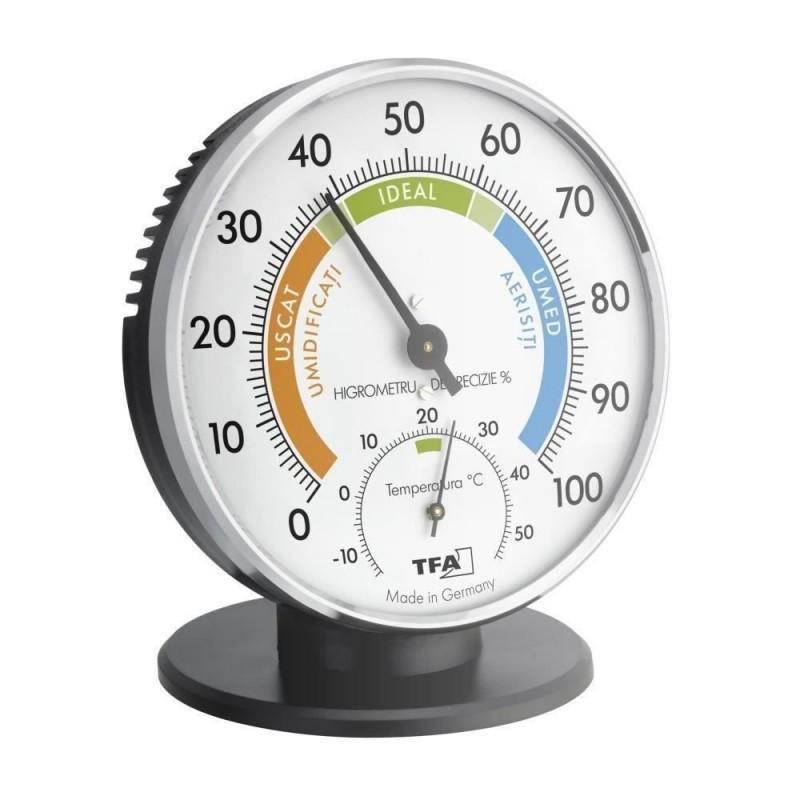 Termometru si higrometru clasic de precizie TFA, 10 cm 2021 shopu.ro