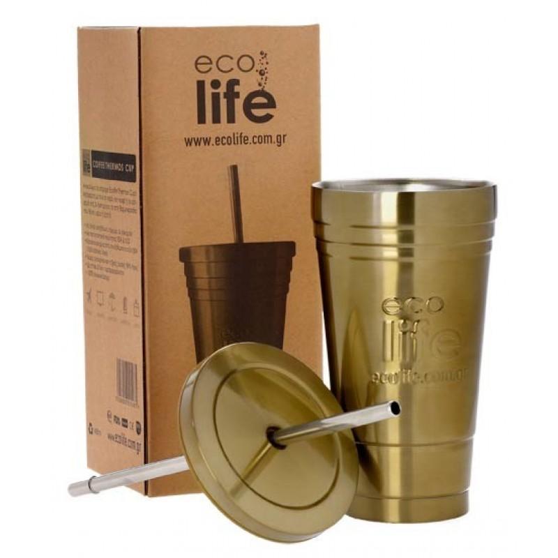Termos cafea Frappe Fredo cu pai din metal EcoLife, inox, 480 ml, Auriu