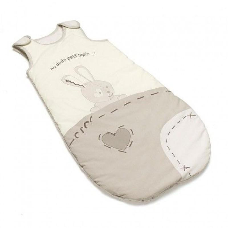 Sac de dormit pentru iarna Thermobaby, bumbac, 70 cm, 0-6 luni, model good night bunny