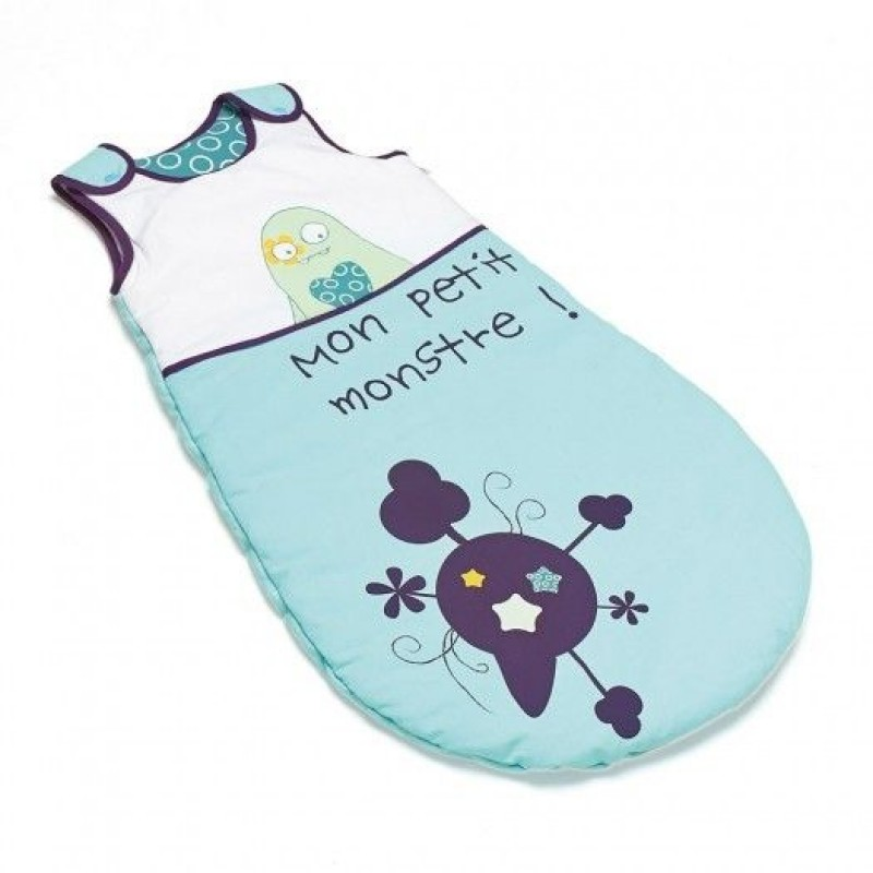 Sac de dormit pentru iarna Thermobaby, bumbac, 70 cm, 0-6 luni, model little monster