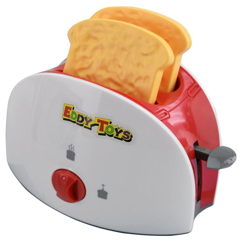 Jucarie toaster Eddy Toys, plastic, accesorii incluse, 3 ani+, Rosu/Alb